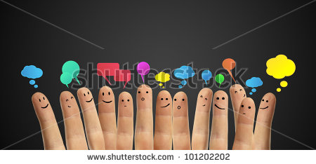 stock-photo-happy-group-of-finger-smileys-with-social-chat-sign-and-speech-bubbles-icons-fingers-representing-101202202